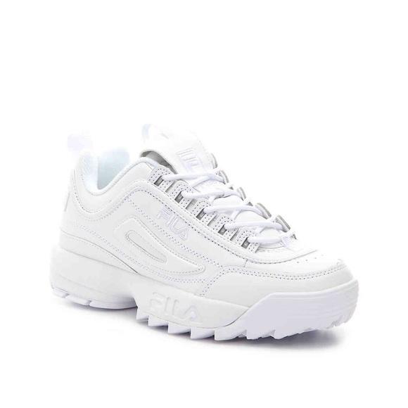 FILA Disruptor II Premium All White Mono Sneakers NWT